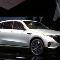 In this Sept. 4, 2018 photo Mercedes-Benz's new electric SUV, the Mercedes EQC, is presented at Artipelag art gallery in Gustavsberg, Stockholm, Sweden. (Soren Andersson/TT via AP)