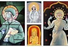 """Изкуство, изобразяващо лекари в Румъния като християнски светци, заклеймено като """"богохулно"""""""