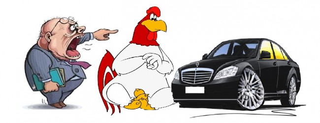 За един петел, за двадесет щастливи кокошки и за два черни мерцедеса