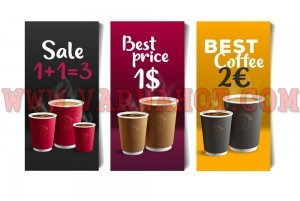 Promotion set of flyer template design for cafe with coffee cups illustrations, buy one get three or price, with logo