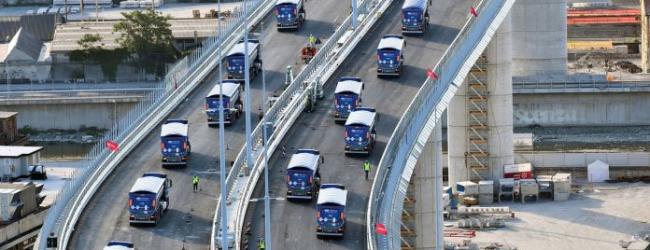 56 камиони тестваха новия мост Моранди