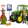 3d working people illustration. Farmer leaning on tractor with thumb up. Isolated white background.