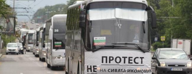 Протестиращи превозвачи спират обществения транспорт, автобуси блокират центъра на София